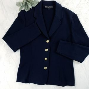St. John Santana Knit Logo Button Navy Blue Blazer